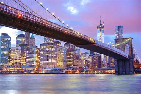 city lights island city bridge and york city skyline city lights