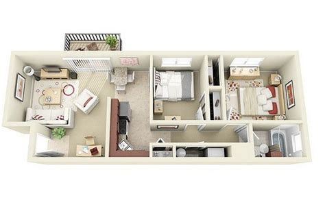 20 awesome 3d apartment plans with two bedrooms part 2 19 awesome 3d apartment plans with two bedrooms part 1