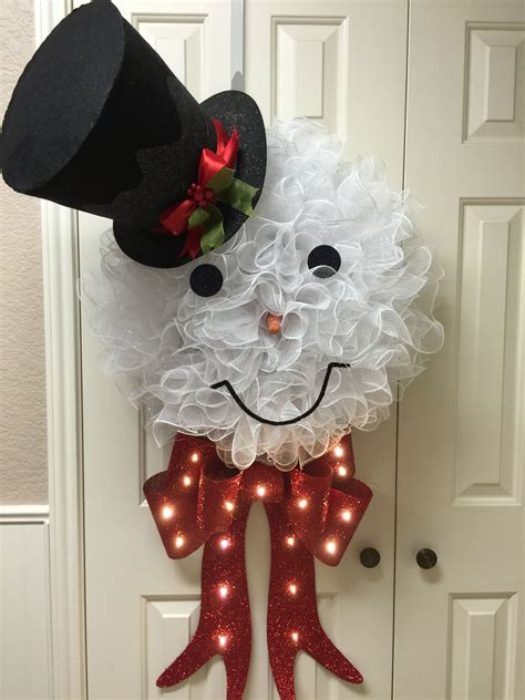large lighted bow large frosty deco mesh wreath with lighted bow and top hat