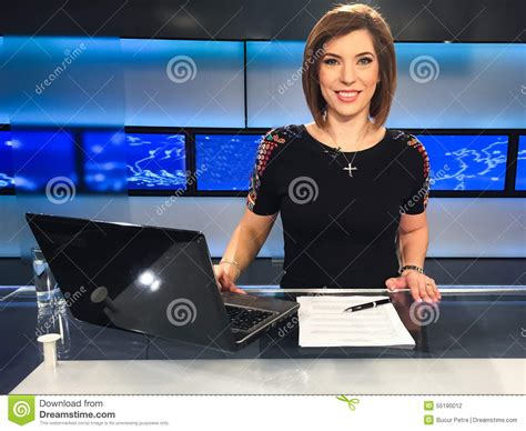 Reporter Tv by Tv Reporter At The News Desk Stock Photo Image 55190012