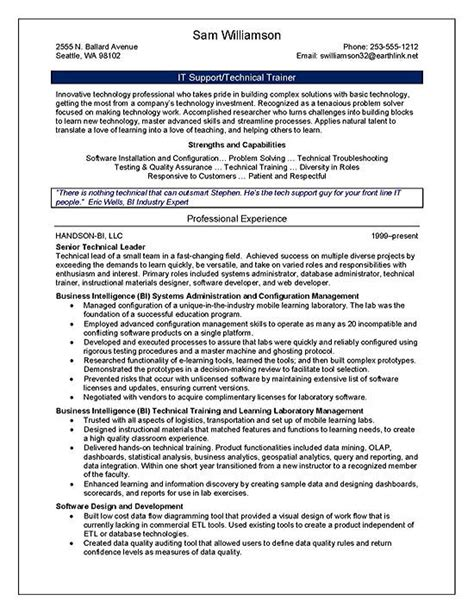 Workshop Manager Sle Resume by Technical Trainer Resume Exle Page 1