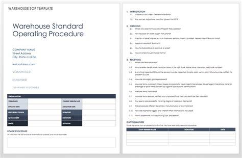 warehouse sop template standard operating procedures templates smartsheet