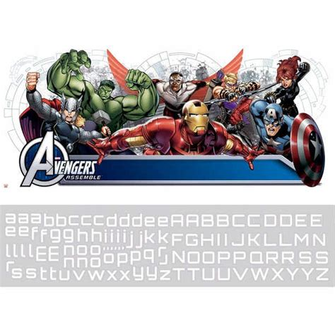 personalised marvel wall decal stickers kids avengers name marvel avengers assemble headboard wall stickers with