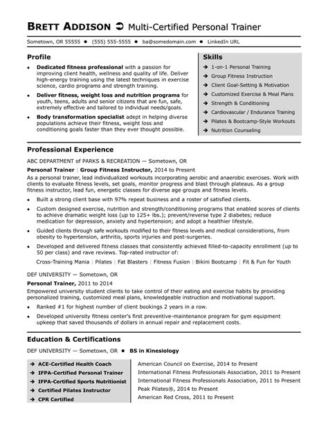 fitness and personal trainer care services space instructor resume