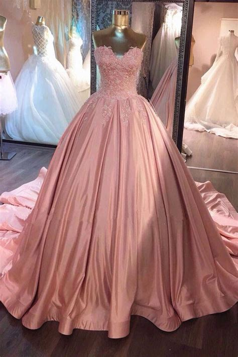 pink sweetheart lace gown prom dress sweet 16 dress okdresses