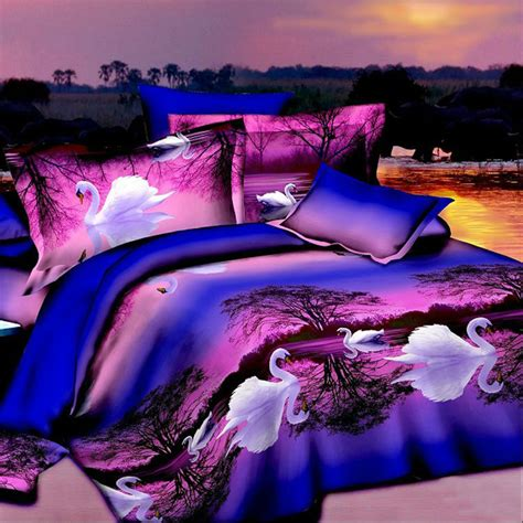 Sprei Set Swan In Violet King Size Ukuran 180 X 200 1 3d white swan cheap cotton 4pc bedding set purple bedspread size duvet comforter quilt