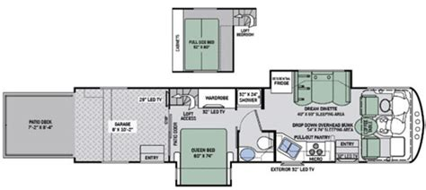 thor hauler floor plans thor outlaw 37rb a class motorhome hauler