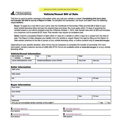 free illinois motor vehicle secretary of state bill of sale form