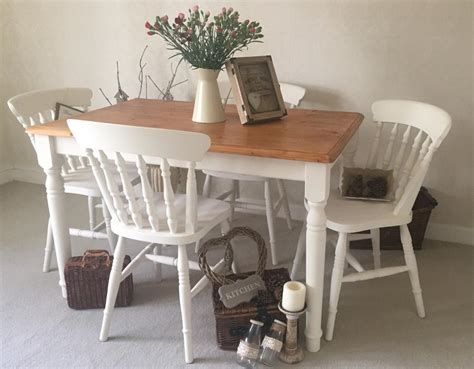 Shabby Chic Farmhouse Table And Chairs Kitchen Dining Shabby Chic Dining Table Chairs