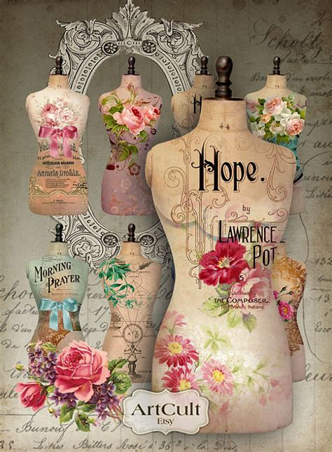 Decoupage Printer Paper - digital collage sheet torso printable dress form images for