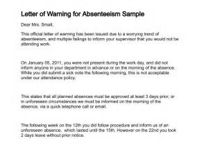 warning letter template for absenteeism letter of warning