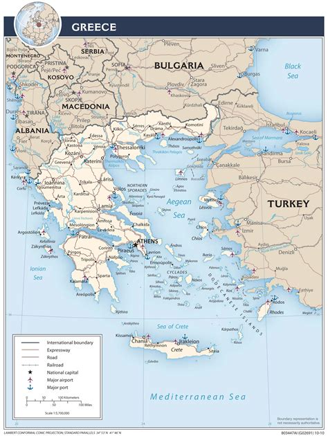 printable road map of greece greece central intelligence agency