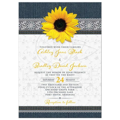 Western Home Decore denim and lace sunflower wedding invitation