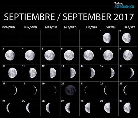 Calendario Lunar Septiembre 2017 Moon Calendar
