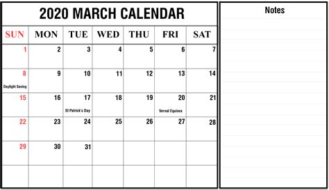 march  holidays calendar printable template