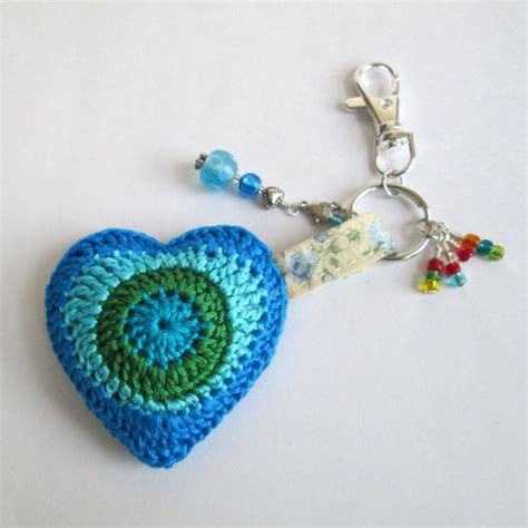 crochet heart pattern keychain crochet heart keychain in shades of blue with heart charm