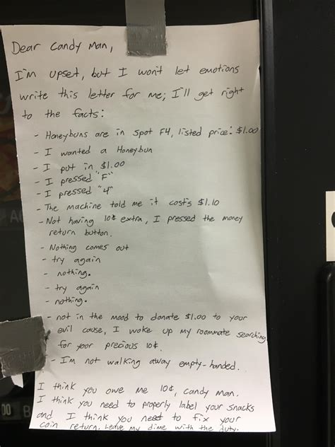 hilarious up letter goes viral hilarious letter stuck to vending machine goes viral and