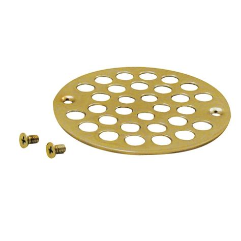 4 in brass shower strainer grid with screws in polished