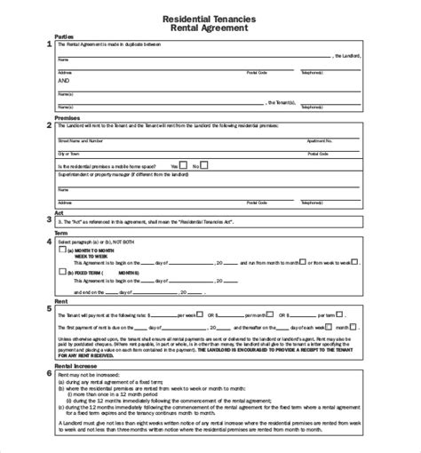 residential tenancy agreement template free printable lease template sles vlashed