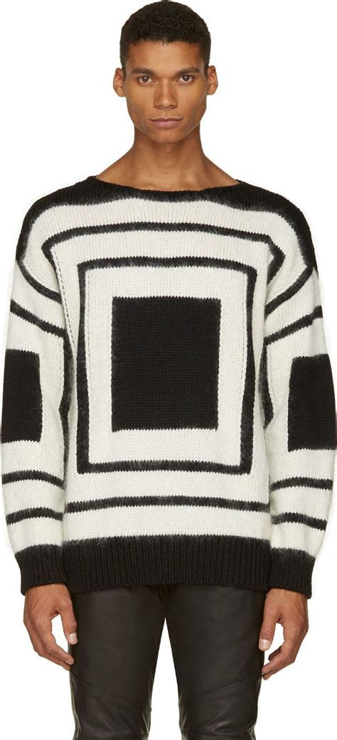 Mcqueen Square Black mcqueen black white mohair square sweater