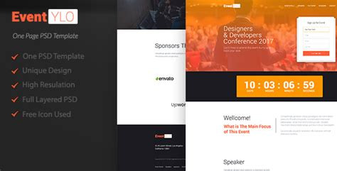 Eventylo L Event Landing Page Psd By Osrusunnorodon Themeforest Event Landing Page Template Free