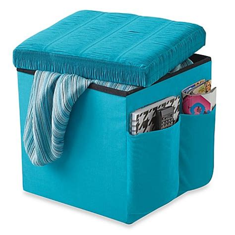sit and store ottoman buy sit and store folding storage ottoman from bed bath