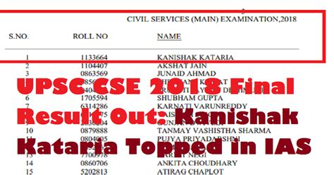 upsc cse  final result  kanishak kataria topped   exam