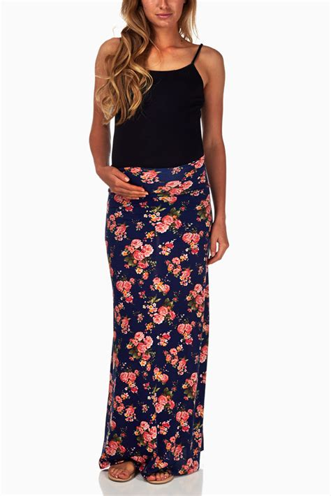 Maternity Maxi Skirt navy blue floral printed maternity maxi skirt
