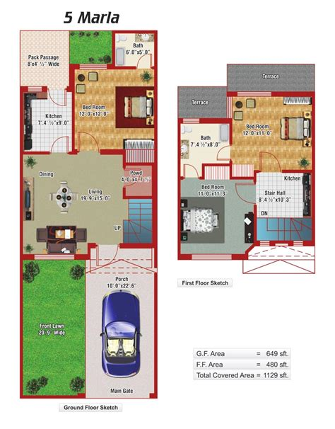 Car Garage Plans by 5 Marla House Plans Civil Engineers Pk