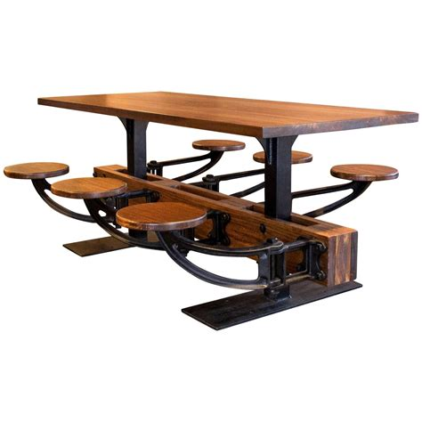 industrial kitchen table furniture vintage industrial iron cafeteria swing out seat dining