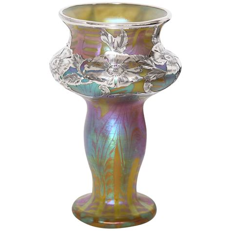 loetz silver overlay glass vase 1900 at 1stdibs