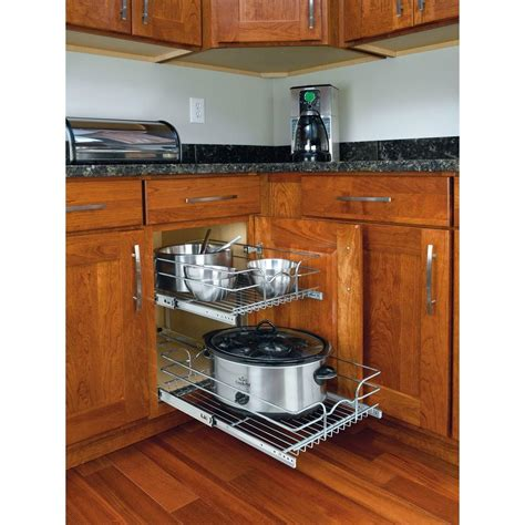 kitchen cabinet organizers home depot rev a shelf 19 in h x 14 75 in w x 22 in d base cabinet pull out chrome 2 tier wire basket