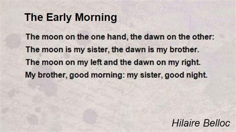 Early Poems the early morning poem by hilaire belloc poem