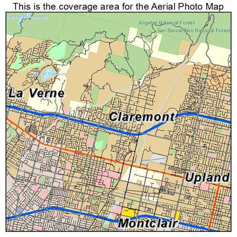 aerial photography map of claremont ca california