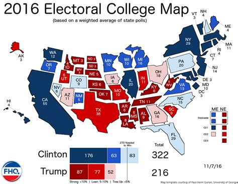 map of us election results frontloading hq the electoral college map 11 7 16