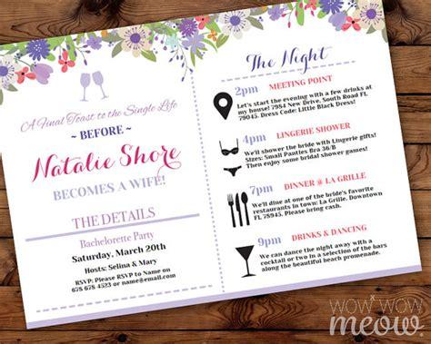 Bridal Shower Agenda by Bridal Shower Itinerary Invite Invitation Bachelorette