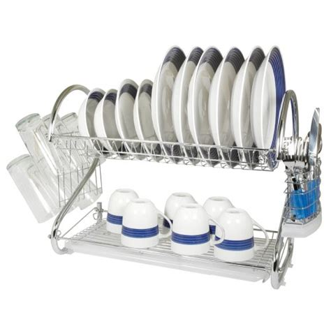 Two Tiered Dish Rack by Chrome 2 Tier Dish Rack 22 Inch Drainer Drying Dish Rack