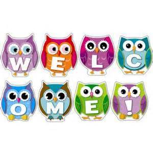 colorful owl welcome bulletin board