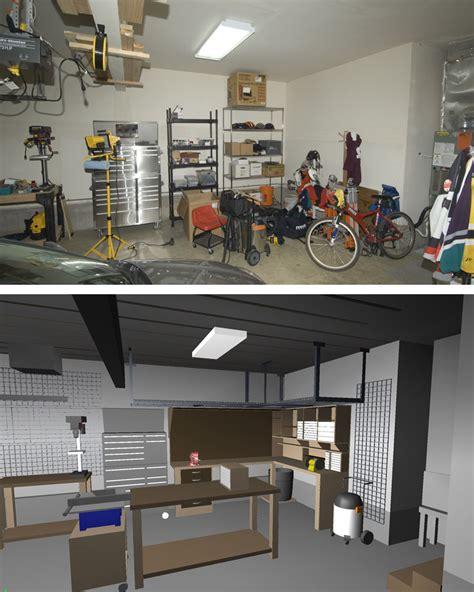 garageshop corner  shape workbench design woodworking
