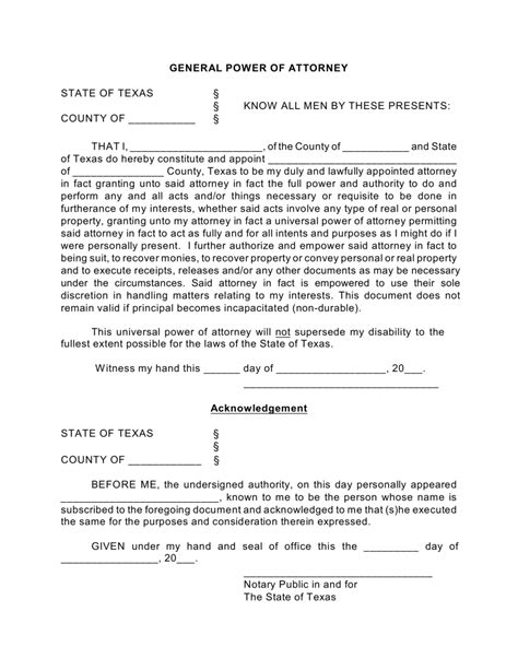Free Texas General Financial Power Of Attorney Form Pdf Eforms Free Fillable Forms Notarized Power Of Attorney Template