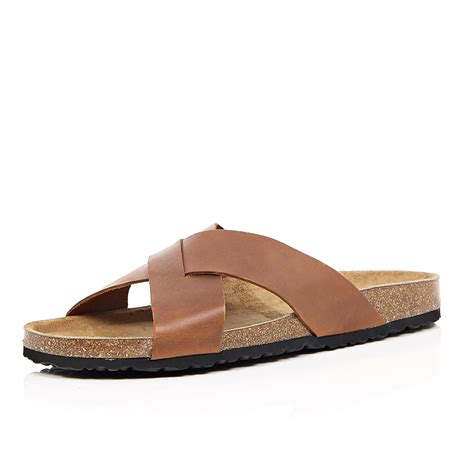 brown sandals for lyst river island brown leather cross sandals in