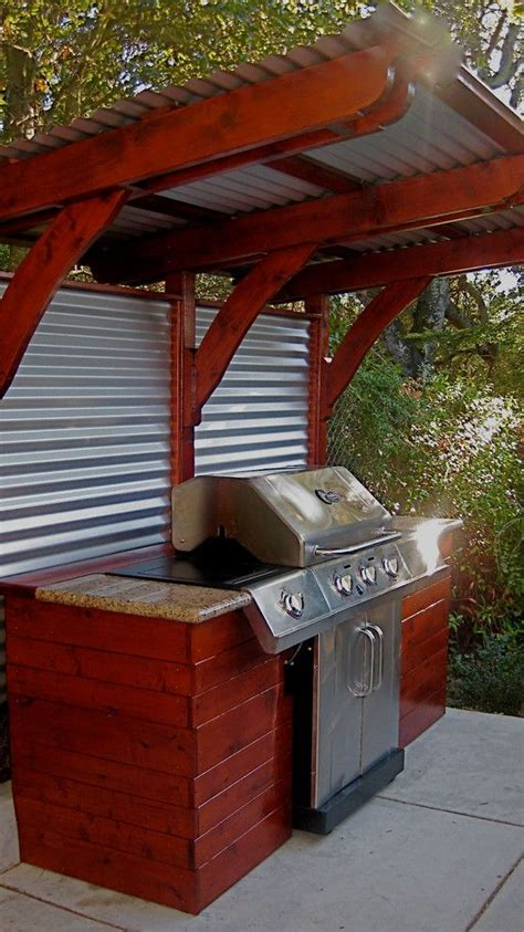 backyard grill area ideas outdoor kitchen ideas spaces with awning barbecue concrete
