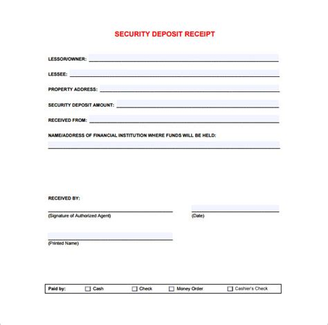 security deposit return receipt template receipt template doc for word documents in different types