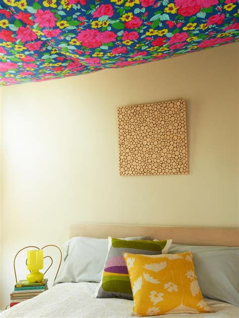 things to hang from bedroom ceiling hang floral fabric on your ceiling hgtv