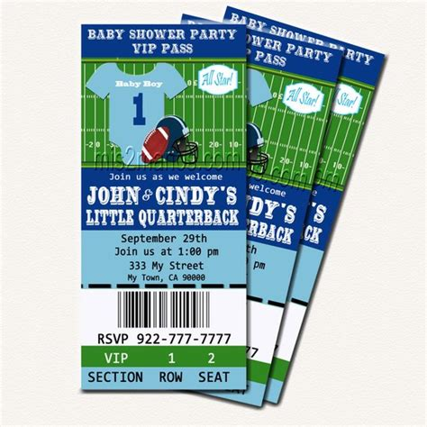 Football Baby Shower Printable Ticket Invitations Printable Baby Shower Ticket Invitation Template