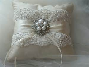 wedding ring bearer pillow ivory duppioni silk ringbearer
