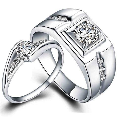 pair wedding ring set white gold plate matching