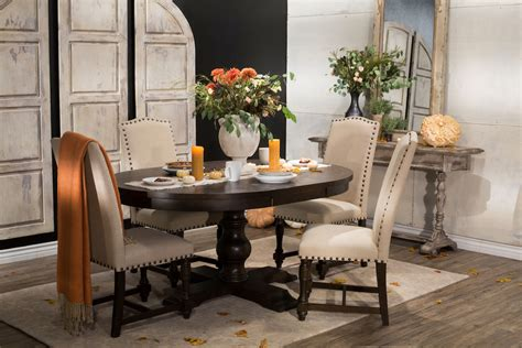 5 pc dining set traditional round table solid wood chairs five piece solid wood traditional round extension 48 to