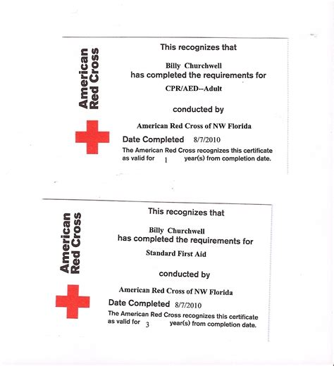 red cross cpr certification card template