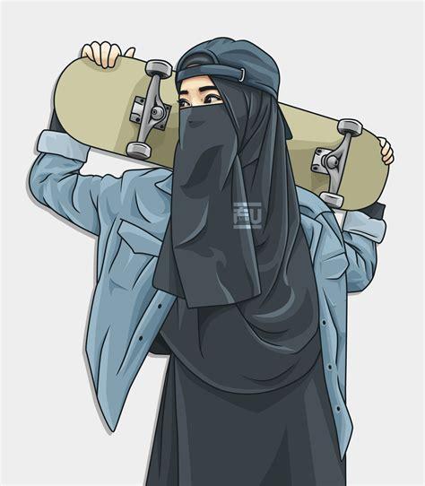 vector hijab niqab skateboard atahmadfu kartun